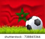 marocco flag and soccer ball | Shutterstock .eps vector #738865366