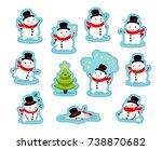 snowmen stickers. funny... | Shutterstock .eps vector #738870682