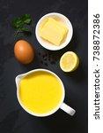 hollandaise sauce  a basic... | Shutterstock . vector #738872386