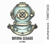 old diving helmet drawn in... | Shutterstock .eps vector #738872632