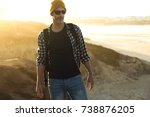 man in outdoor with the beach... | Shutterstock . vector #738876205