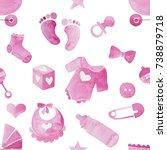 watercolor illustration of pink ...   Shutterstock . vector #738879718