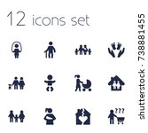 set of 12 people icons set...   Shutterstock .eps vector #738881455
