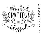 thankful grateful and blessed... | Shutterstock .eps vector #738885625