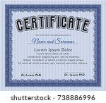 blue certificate of achievement ... | Shutterstock .eps vector #738886996