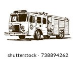 fire truck drawing | Shutterstock .eps vector #738894262