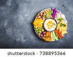 hummus platter with assorted... | Shutterstock . vector #738895366