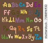 hand drawn alphabet. brush... | Shutterstock . vector #738896932