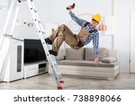 young male carpenter falling...   Shutterstock . vector #738898066
