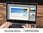 close up of person editing... | Shutterstock . vector #738900286
