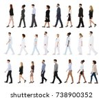 Small photo of Collage Of Businesspeople And Doctors Walking In A Row Over White Background