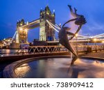 london  uk   aug 1  girl with a ... | Shutterstock . vector #738909412