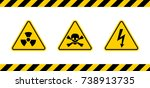 caution danger sign. hazard... | Shutterstock .eps vector #738913735