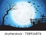 halloween spooky blue vector...   Shutterstock .eps vector #738916876