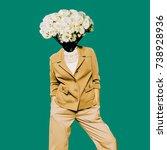 minimal vintage lady. head... | Shutterstock . vector #738928936