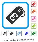 euro tag icon. flat grey...