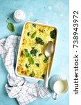 cauliflower broccoli gratin in... | Shutterstock . vector #738943972