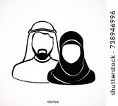 muslim man and woman... | Shutterstock .eps vector #738946996