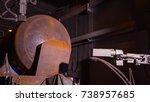 freight wagon for oil in hangar.... | Shutterstock . vector #738957685