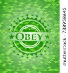obey green emblem with triangle ... | Shutterstock .eps vector #738958642