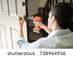 point of view of a handyman... | Shutterstock . vector #738964936