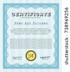 light blue certificate of... | Shutterstock .eps vector #738969256