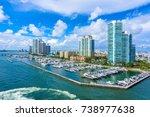 miami beach. aerial view of... | Shutterstock . vector #738977638