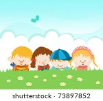 group of kids lying on the grass | Shutterstock . vector #73897852
