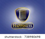 golden badge with note book...   Shutterstock .eps vector #738980698