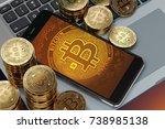 smartphone with bitcoin symbol... | Shutterstock . vector #738985138