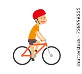 cyclist. the boy is riding a... | Shutterstock .eps vector #738996325