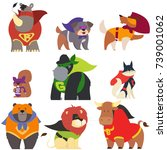 animals in superhero costumes.... | Shutterstock .eps vector #739001062