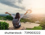 woman traveler with backpack... | Shutterstock . vector #739003222