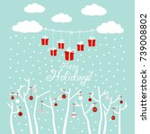 cute winter holiday background... | Shutterstock .eps vector #739008802