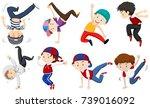 boys doing different dancing...   Shutterstock .eps vector #739016092