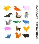 origami country farm animals... | Shutterstock .eps vector #73903090