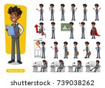 set of businessman cartoon... | Shutterstock .eps vector #739038262