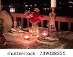 romantic outdoors table setting ... | Shutterstock . vector #739038325