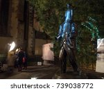 Small photo of PRAGUE - OCTOBER 13, 2017: Videomapping Kafka 4ever accompanying program accompanying program at the statue of Franz Kafka on Dusni street within the Prague Light festival Signal 2017