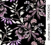 hand drawn seamless pattern... | Shutterstock . vector #739043242