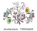 hand drawn pattern with... | Shutterstock . vector #739043605