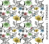 hand drawn seamless pattern... | Shutterstock . vector #739043665