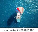colorful sailboats sailing at... | Shutterstock . vector #739051408