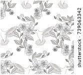monochrome hand drawn seamless... | Shutterstock .eps vector #739063342