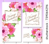 invitation with floral... | Shutterstock . vector #739064296