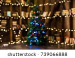 defocused bokeh christmas... | Shutterstock . vector #739066888