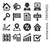 real estate icons | Shutterstock . vector #739070422