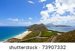 panoramic view of the island of st kitts with nevis in background - stock photo
