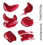red smears of lipstick on white ... | Shutterstock . vector #739079236