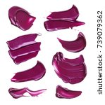 purple makeup smears of lip...   Shutterstock . vector #739079362